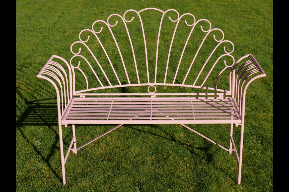 pink metal outdoor garden bench